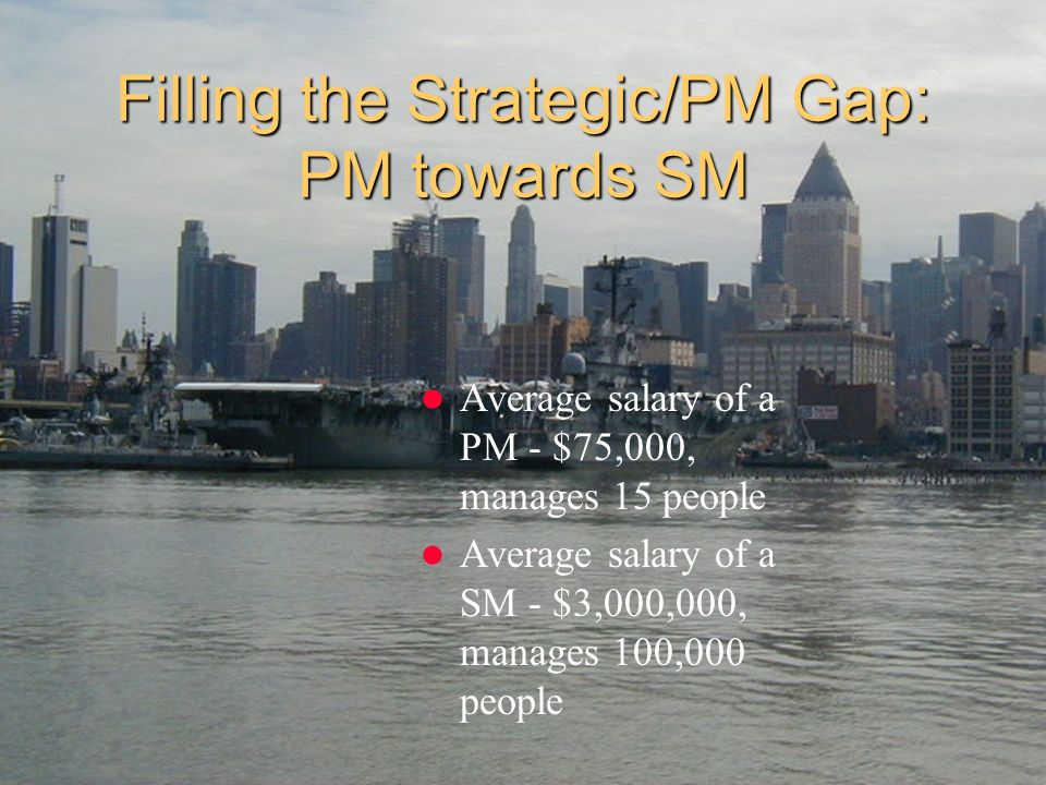 Filling the Strategic/PM Gap: PM towards SM Average salary of a PM - $75,000, manages 15 people Average salary of a SM - $3,000,000, manages 100,000 p