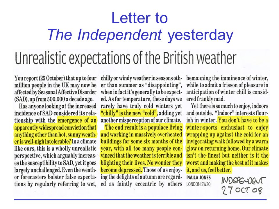 Letter to The Independent yesterday