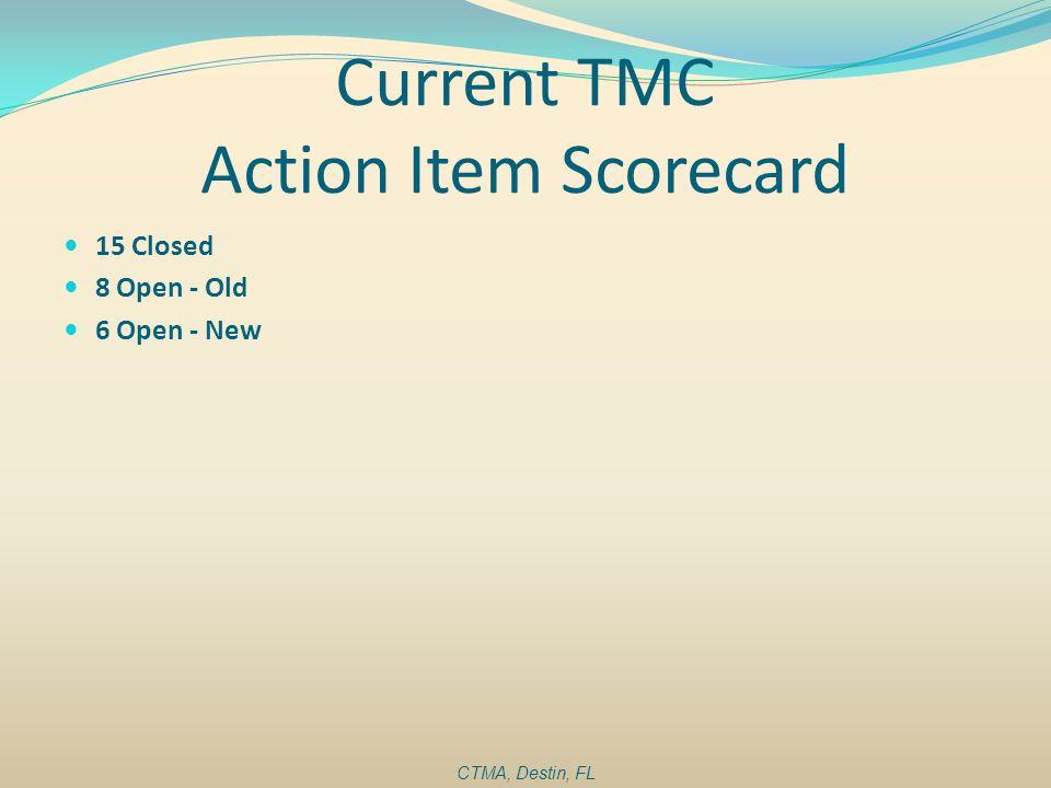 Current TMC Action Item Scorecard 15 Closed 8 Open - Old 6 Open - New CTMA, Destin, FL