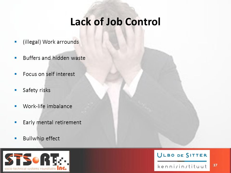 17 (illegal) Work arrounds Buffers and hidden waste Focus on self interest Safety risks Work-life imbalance Early mental retirement Bullwhip effect La