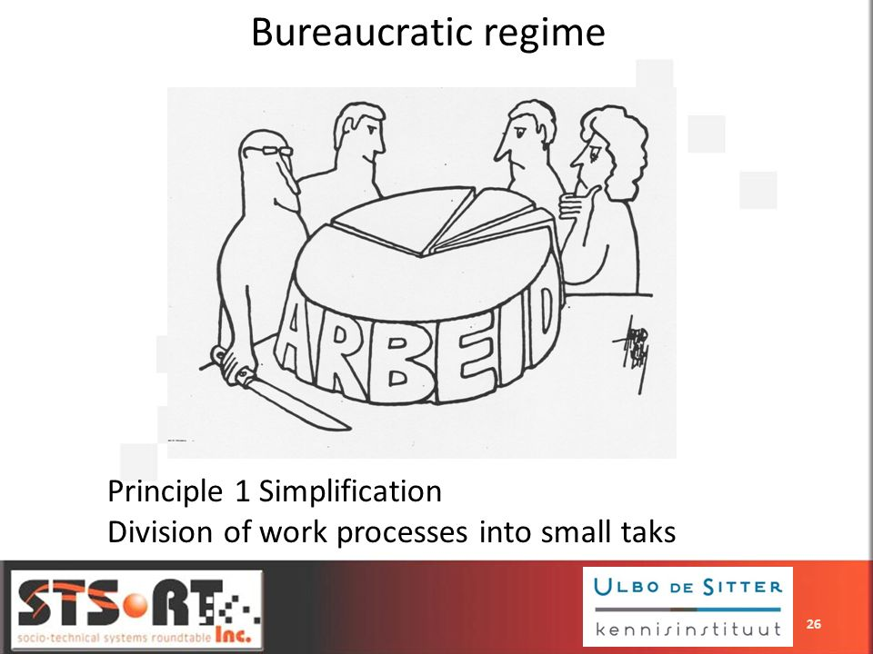 Bureaucratic regime Principle 1 Simplification Division of work processes into small taks 26
