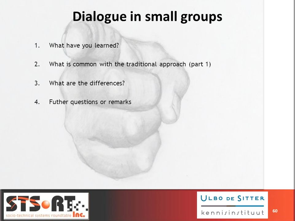 1.What have you learned? 2.What is common with the traditional approach (part 1) 3.What are the differences? 4.Futher questions or remarks Dialogue in