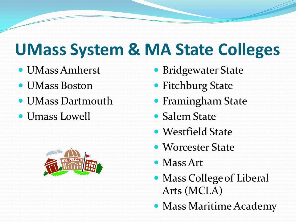 UMass System & MA State Colleges UMass Amherst UMass Boston UMass Dartmouth Umass Lowell Bridgewater State Fitchburg State Framingham State Salem Stat