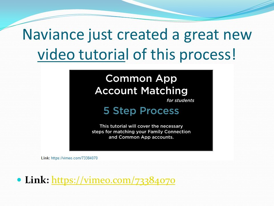 Naviance just created a great new video tutorial of this process! Link: https://vimeo.com/73384070https://vimeo.com/73384070