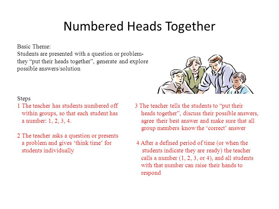 Numbered Heads Together Basic Theme: Students are presented with a question or problem- they put their heads together, generate and explore possible a