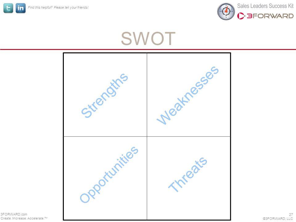 Find this helpful. Please tell your friends. SWOT 27 ©3FORWARD, LLC 3FORWARD.com Create.