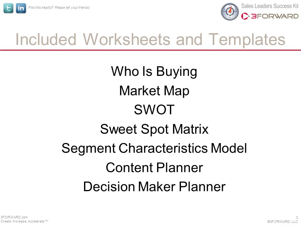 Included Worksheets and Templates Who Is Buying Market Map SWOT Sweet Spot Matrix Segment Characteristics Model Content Planner Decision Maker Planner 3 ©3FORWARD, LLC 3FORWARD.com Create.