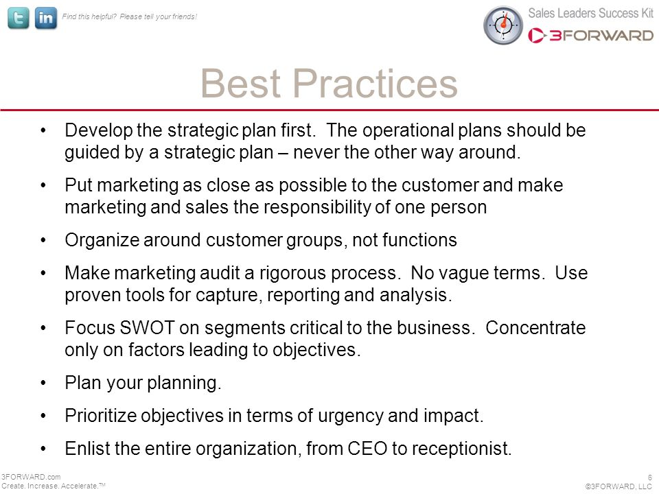 Find this helpful. Please tell your friends. Best Practices Develop the strategic plan first.