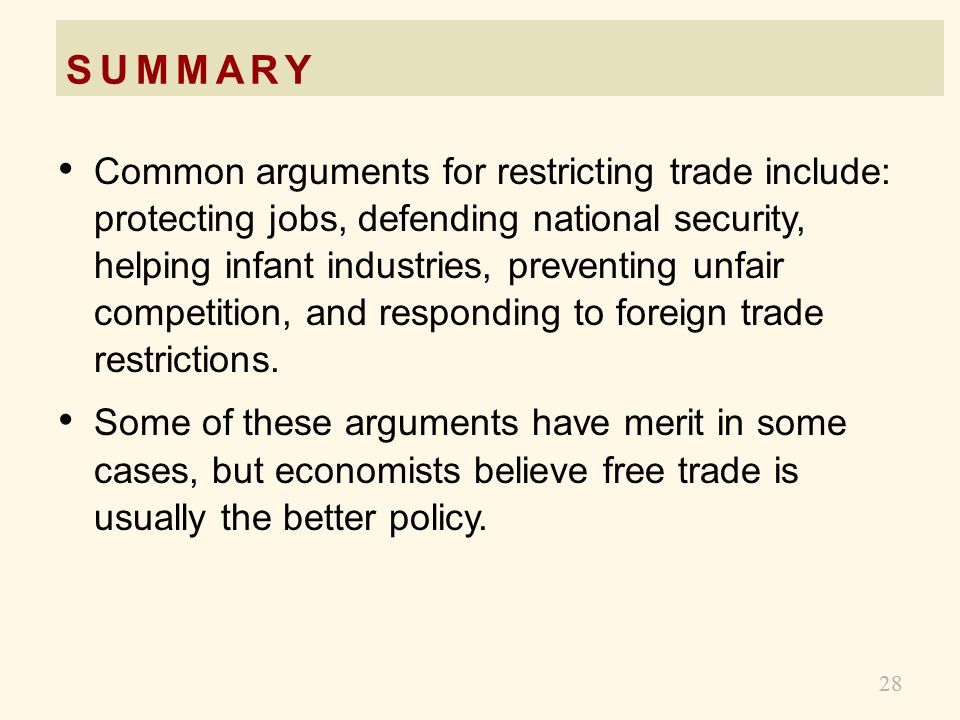 27 SUMMARY A country will export a good if the world price of the good is higher than the domestic price without trade. Trade raises producer surplus,