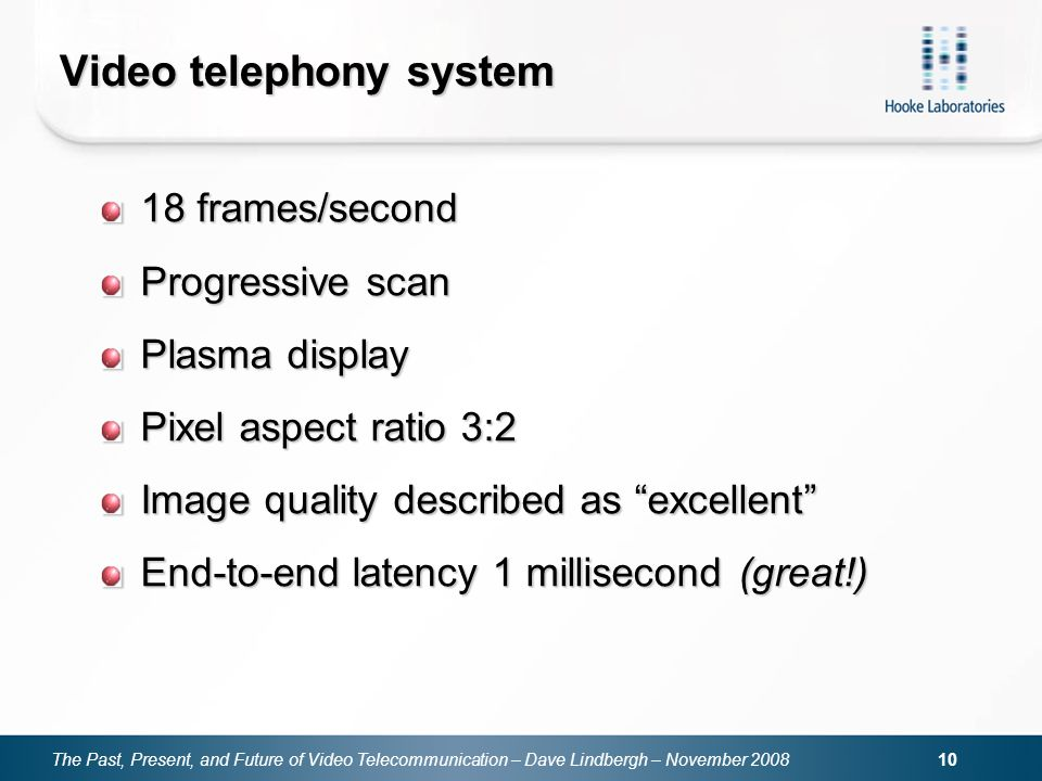 The Past, Present, and Future of Video Telecommunication – Dave Lindbergh – November 2008 10 Video telephony system 18 frames/second Progressive scan