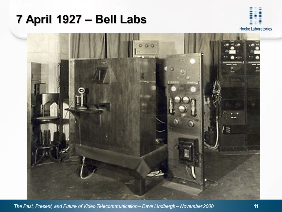 The Past, Present, and Future of Video Telecommunication – Dave Lindbergh – November 2008 11 7 April 1927 – Bell Labs