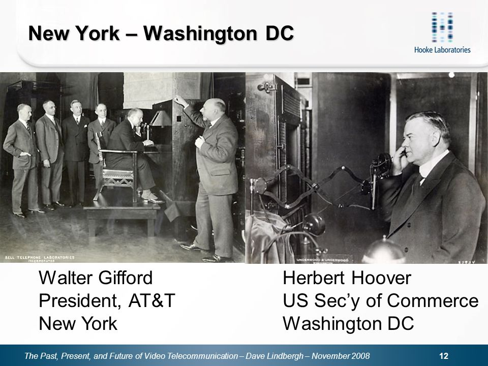 The Past, Present, and Future of Video Telecommunication – Dave Lindbergh – November 2008 12 New York – Washington DC Walter GiffordHerbert Hoover Pre