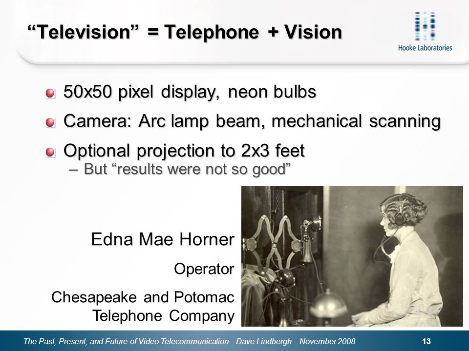 The Past, Present, and Future of Video Telecommunication – Dave Lindbergh – November Television = Telephone + Vision 50x50 pixel display, neon bulbs Camera: Arc lamp beam, mechanical scanning Optional projection to 2x3 feet –But results were not so good Edna Mae Horner Operator Chesapeake and Potomac Telephone Company