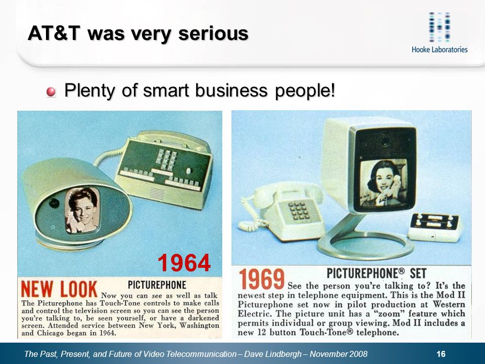 The Past, Present, and Future of Video Telecommunication – Dave Lindbergh – November 2008 16 AT&T was very serious Plenty of smart business people! 19