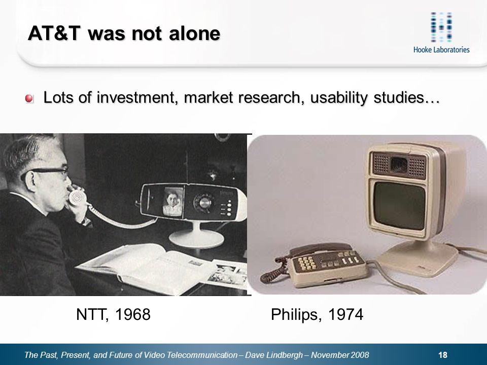 The Past, Present, and Future of Video Telecommunication – Dave Lindbergh – November 2008 18 AT&T was not alone NTT, 1968 Philips, 1974 Lots of invest