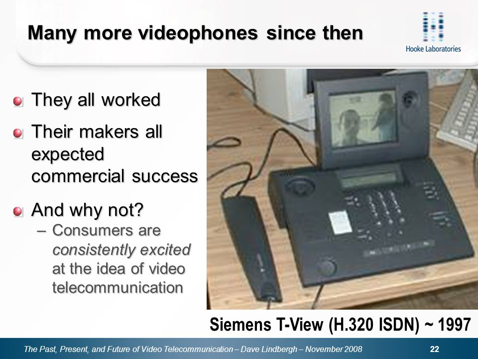 The Past, Present, and Future of Video Telecommunication – Dave Lindbergh – November 2008 22 Many more videophones since then They all worked Their ma