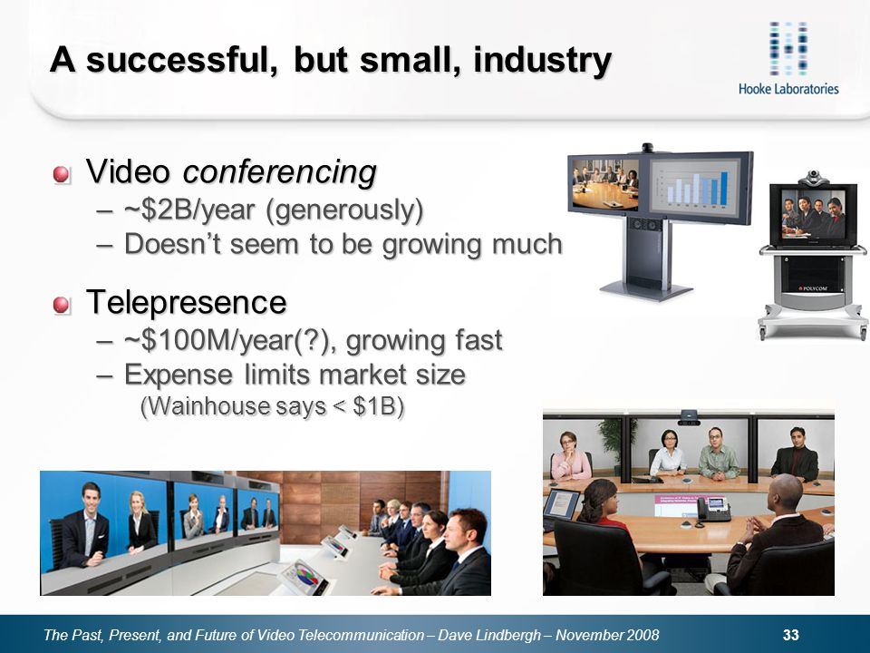The Past, Present, and Future of Video Telecommunication – Dave Lindbergh – November A successful, but small, industry Video conferencing –~$2B/year (generously) –Doesnt seem to be growing much Telepresence –~$100M/year( ), growing fast –Expense limits market size (Wainhouse says < $1B)
