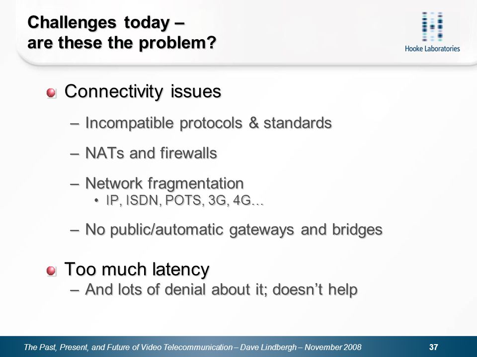The Past, Present, and Future of Video Telecommunication – Dave Lindbergh – November 2008 37 Challenges today – are these the problem? Connectivity is