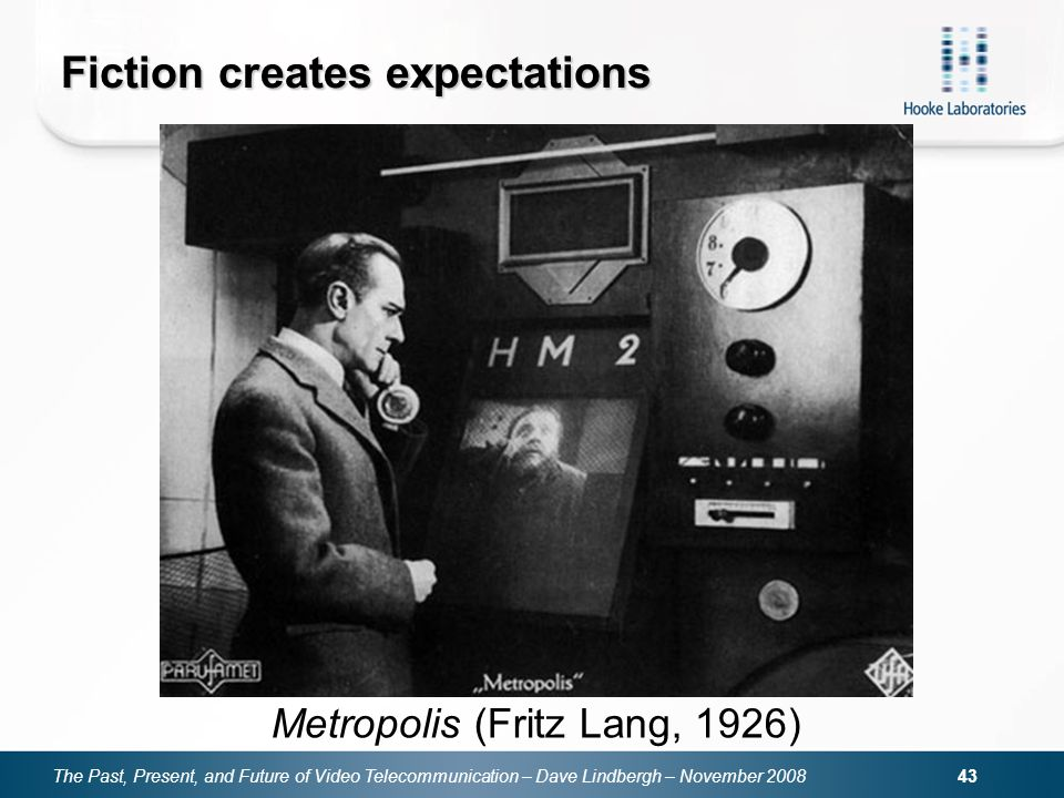 The Past, Present, and Future of Video Telecommunication – Dave Lindbergh – November Fiction creates expectations Metropolis (Fritz Lang, 1926)