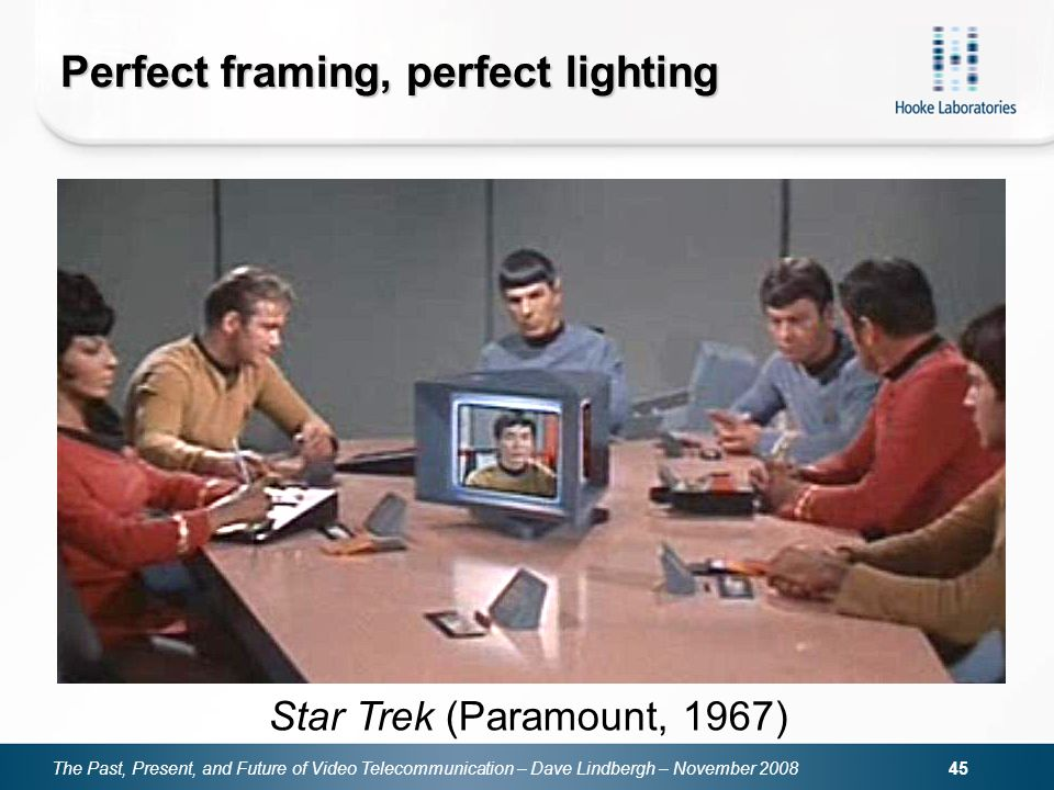 The Past, Present, and Future of Video Telecommunication – Dave Lindbergh – November Perfect framing, perfect lighting Star Trek (Paramount, 1967)