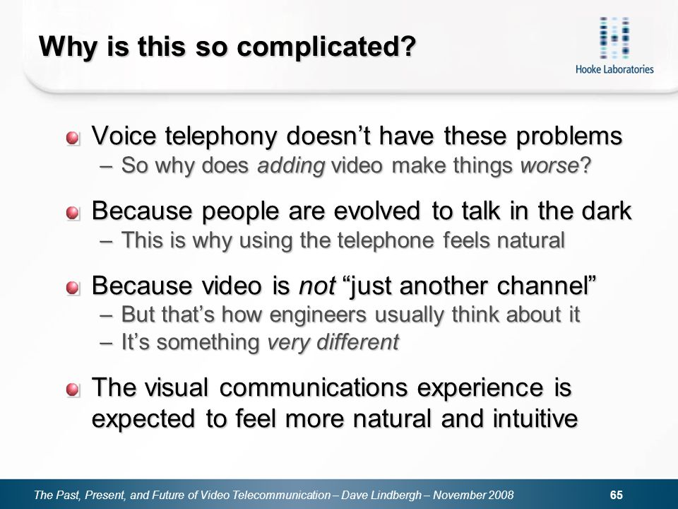 The Past, Present, and Future of Video Telecommunication – Dave Lindbergh – November Why is this so complicated.