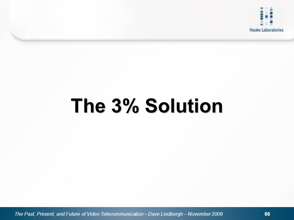 The Past, Present, and Future of Video Telecommunication – Dave Lindbergh – November 2008 66 The 3% Solution