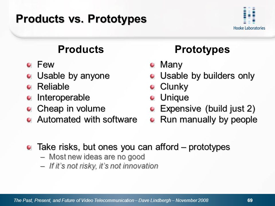 The Past, Present, and Future of Video Telecommunication – Dave Lindbergh – November 2008 69 Products vs. Prototypes Few Usable by anyone ReliableInte