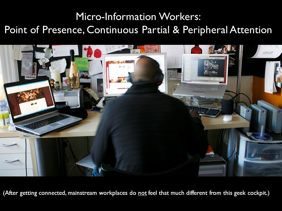 OPENNESS OPEN SPACE Micro-Information Workers: Point of Presence, Continuous Partial & Peripheral Attention (After getting connected, mainstream workp
