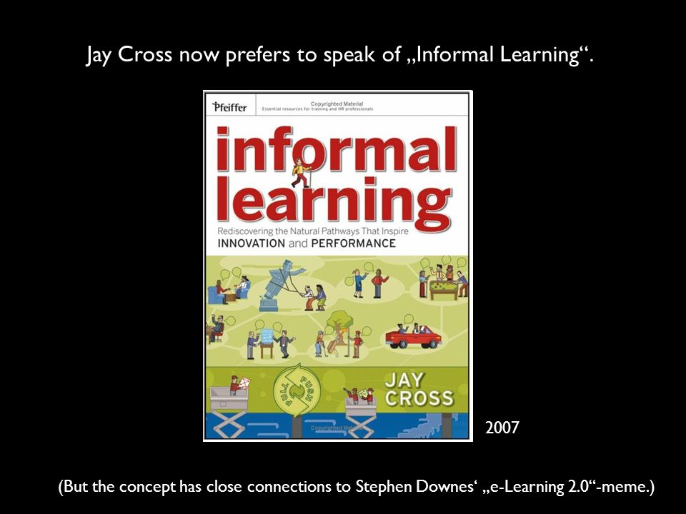 Jay Cross now prefers to speak of Informal Learning. (But the concept has close connections to Stephen Downes e-Learning 2.0-meme.) 2007