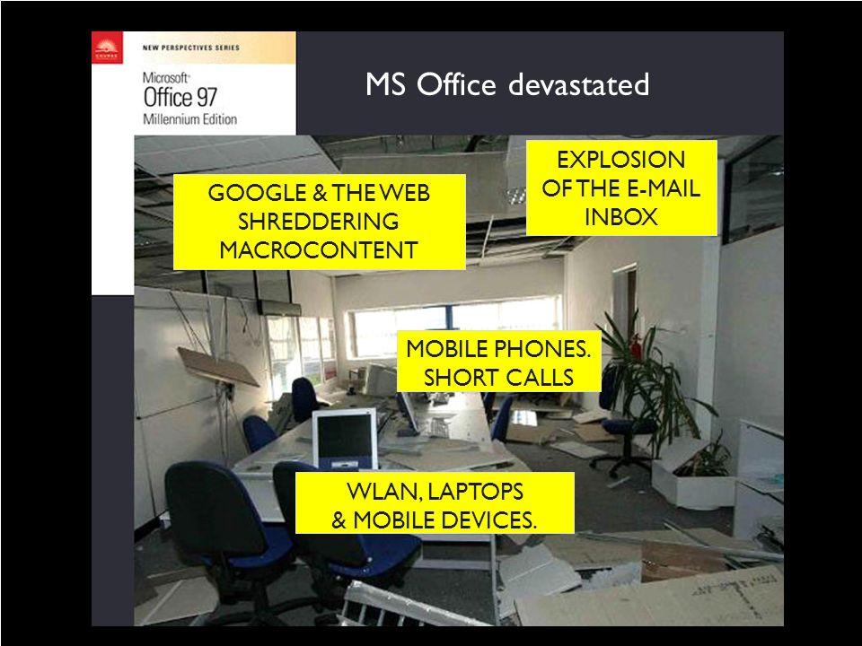 MICROCONTENT discovered in 2001 GOOGLE & THE WEB SHREDDERING MACROCONTENT WLAN, LAPTOPS & MOBILE DEVICES. MOBILE PHONES. SHORT CALLS EXPLOSION OF THE