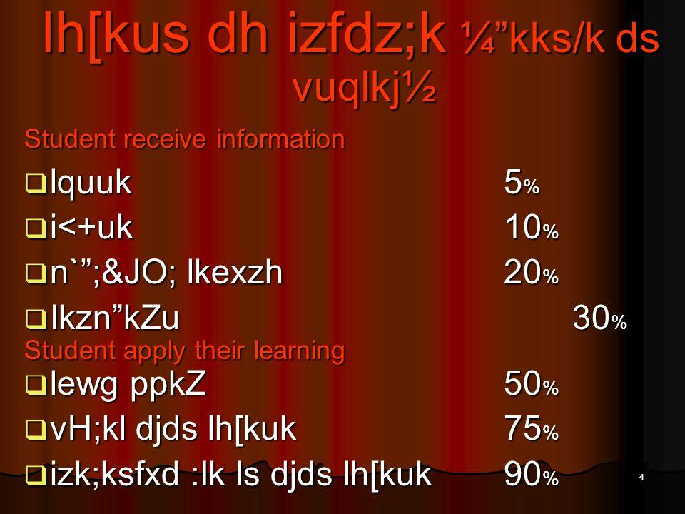 4 lh[kus dh izfdz;k ¼kks/k ds vuqlkj½ Student receive information lquuk5 % lquuk5 % i<+uk10 % i<+uk10 % n`;&JO; lkexzh20 % n`;&JO; lkexzh20 % IkznkZu3