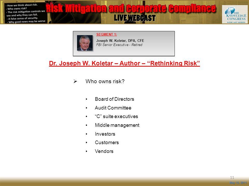 11 May 12, 2011 SEGMENT 1: Joseph W. Koletar, DPA, CFE FBI Senior Executive - Retired Who owns risk? Board of Directors Audit Committee C suite execut