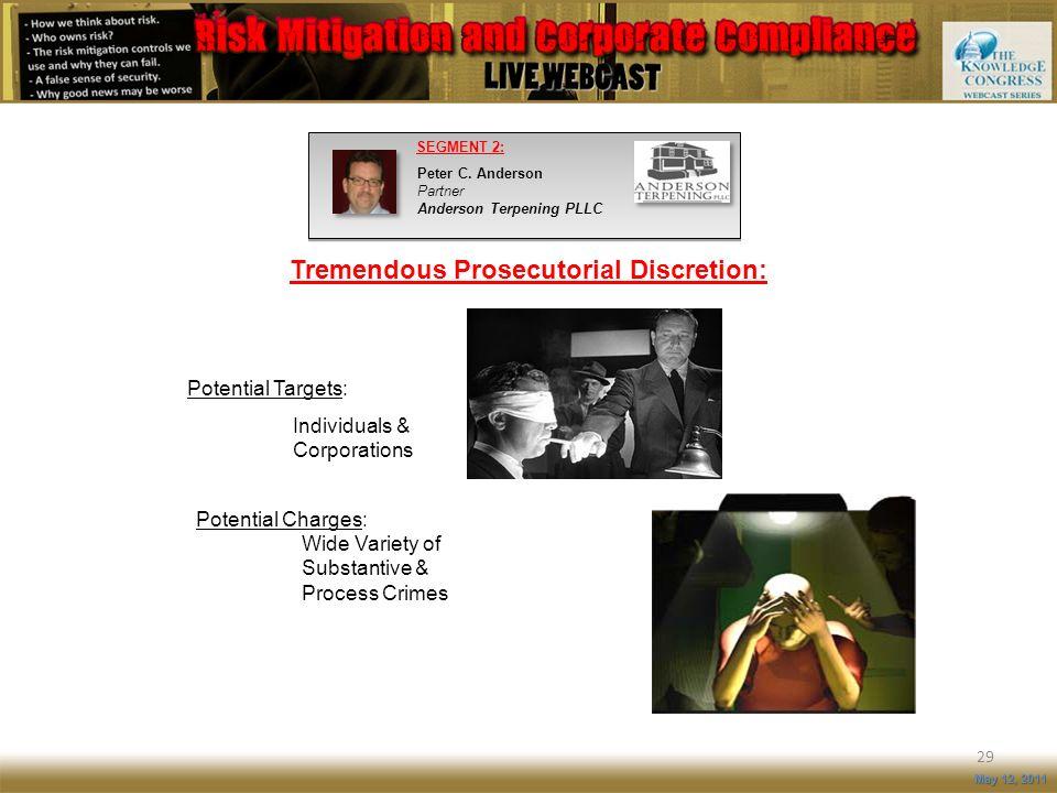 Tremendous Prosecutorial Discretion: 29 May 12, 2011 SEGMENT 2: Peter C. Anderson Partner Anderson Terpening PLLC Potential Targets: Individuals & Cor