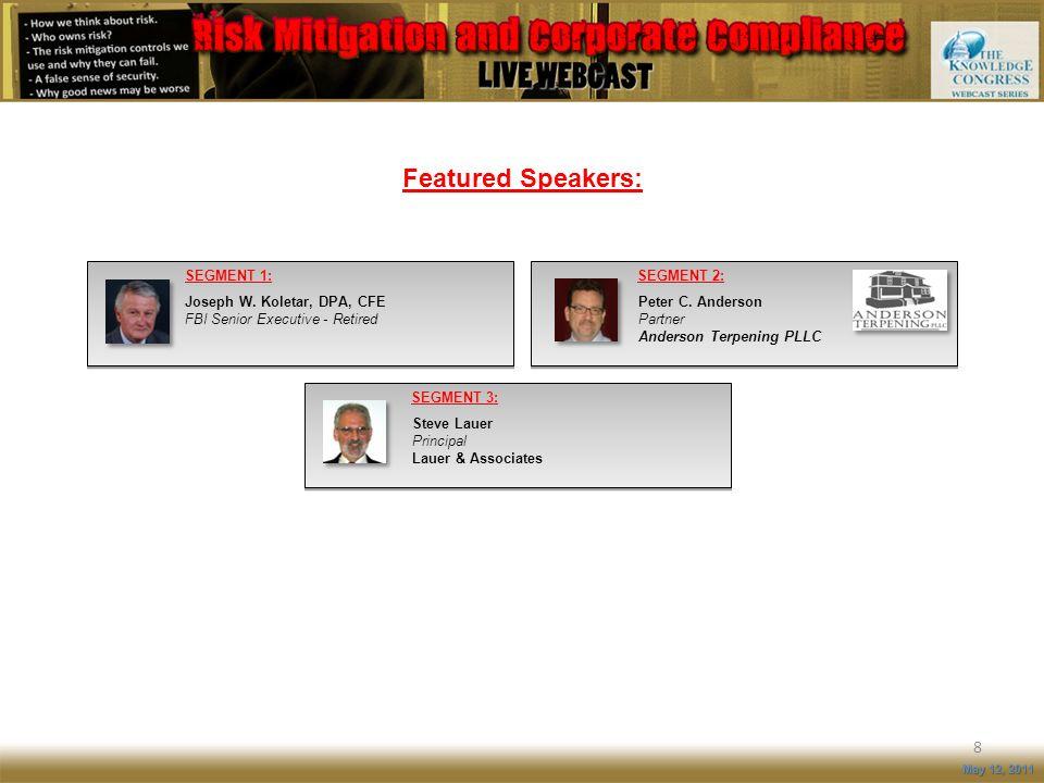 Featured Speakers: 8 May 12, 2011 SEGMENT 3: Steve Lauer Principal Lauer & Associates SEGMENT 1: Joseph W. Koletar, DPA, CFE FBI Senior Executive - Re