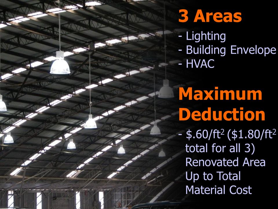 3 Areas - Lighting - Building Envelope - HVAC Maximum Deduction - $.60/ft 2 ($1.80/ft 2 total for all 3) Renovated Area Up to Total Material Cost