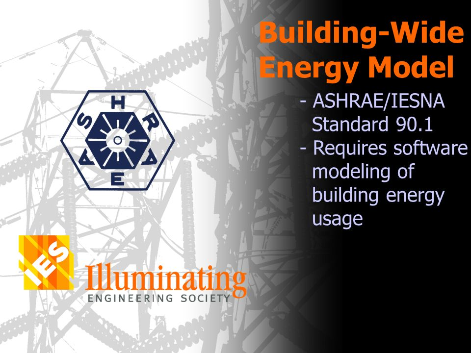 Building-Wide Energy Model - ASHRAE/IESNA Standard 90.1 - Requires software modeling of building energy usage