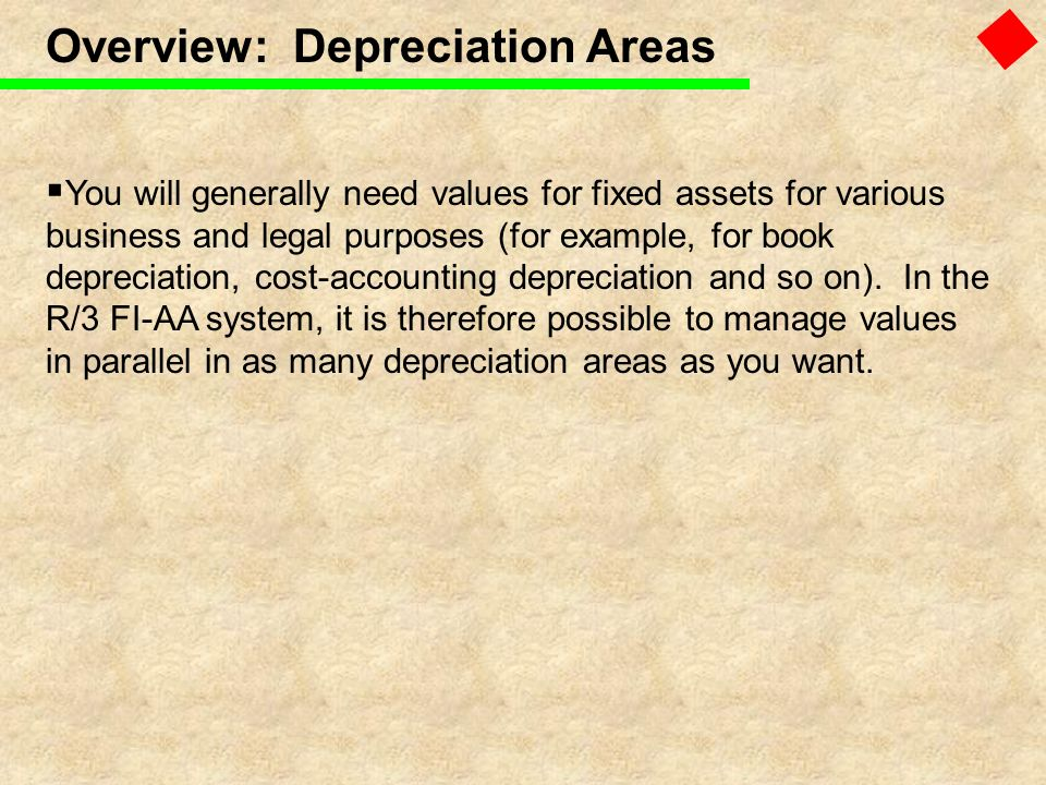 Overview: Depreciation Areas You will generally need values for fixed assets for various business and legal purposes (for example, for book depreciati