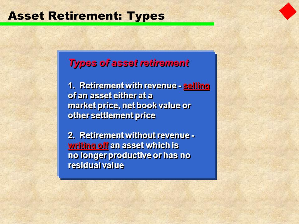 Types of asset retirement 1. Retirement with revenue - selling of an asset either at a market price, net book value or other settlement price 2. Retir