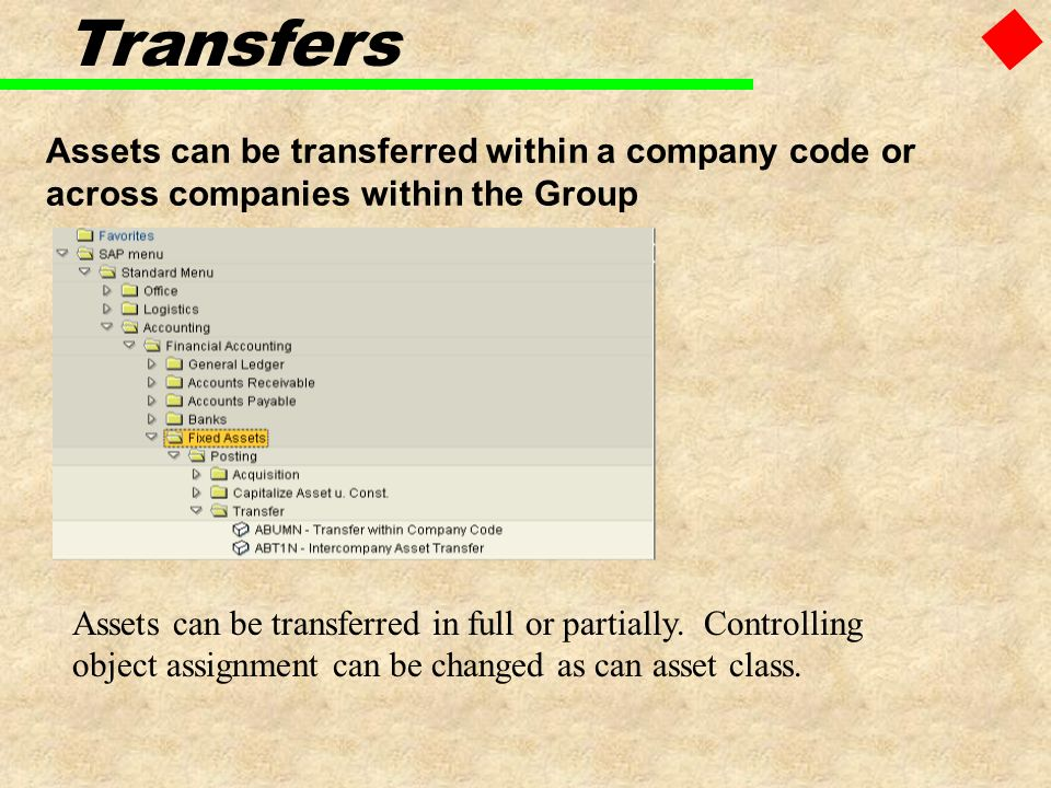 Assets can be transferred within a company code or across companies within the Group Transfers Assets can be transferred in full or partially. Control