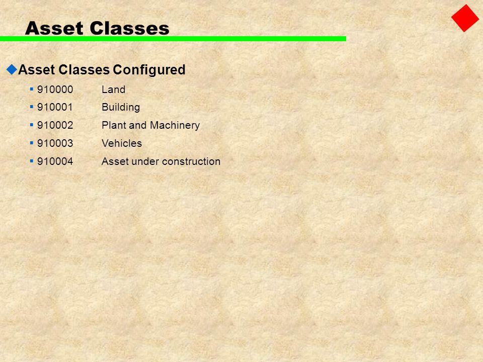 Asset Classes Asset Classes Configured 910000Land 910001Building 910002Plant and Machinery 910003Vehicles 910004Asset under construction