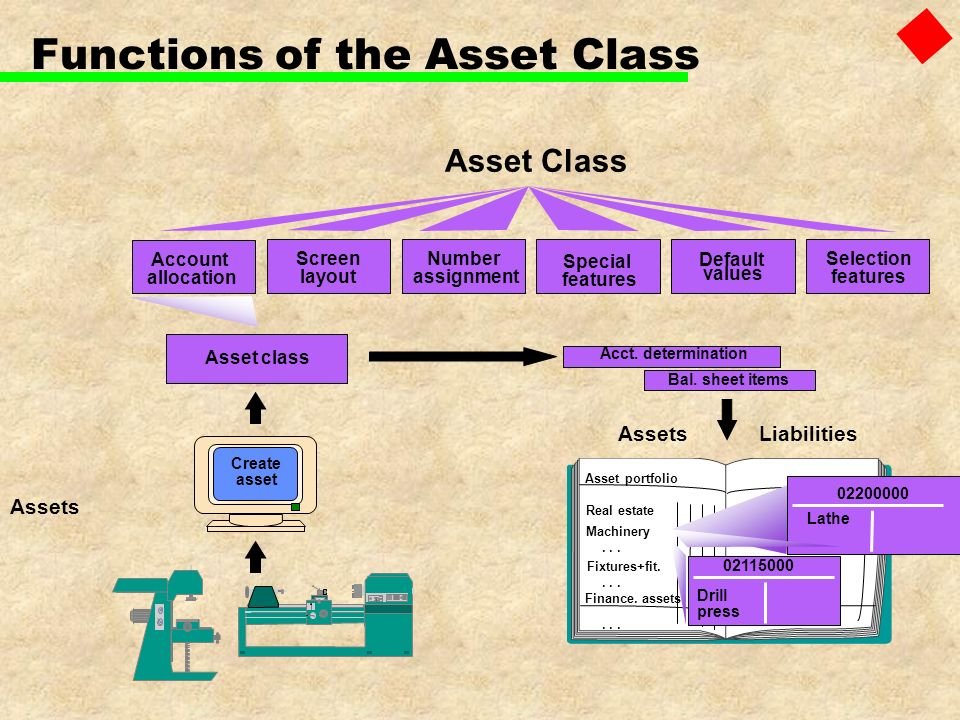 Functions of the Asset Class Assets Asset Class Account allocation Screen layout Number assignment Special features Default values Selection features