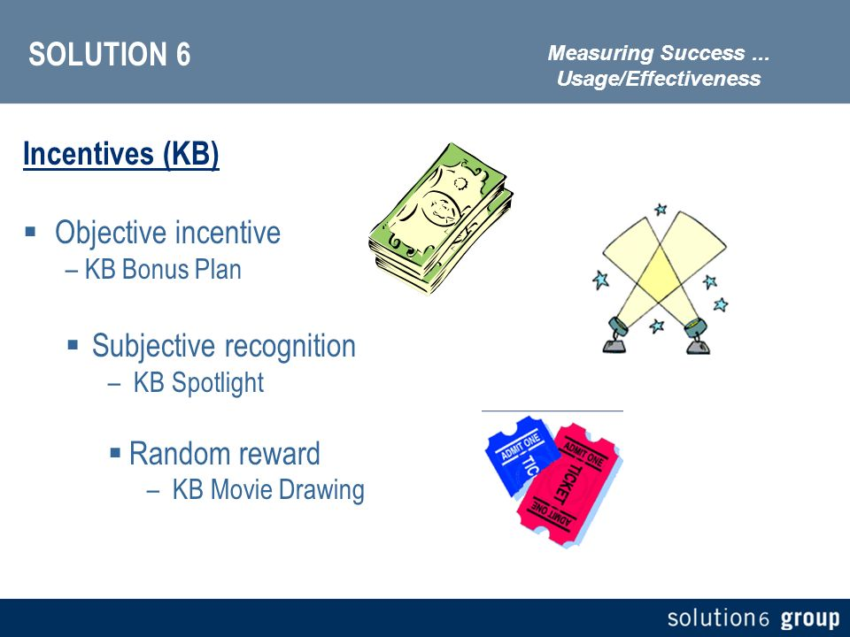 SOLUTION 6 Incentives (KB) Objective incentive – KB Bonus Plan Subjective recognition – KB Spotlight Random reward – KB Movie Drawing Measuring Success...