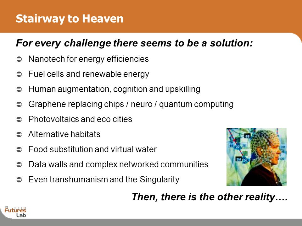 10 Stairway to Heaven For every challenge there seems to be a solution: Nanotech for energy efficiencies Fuel cells and renewable energy Human augment