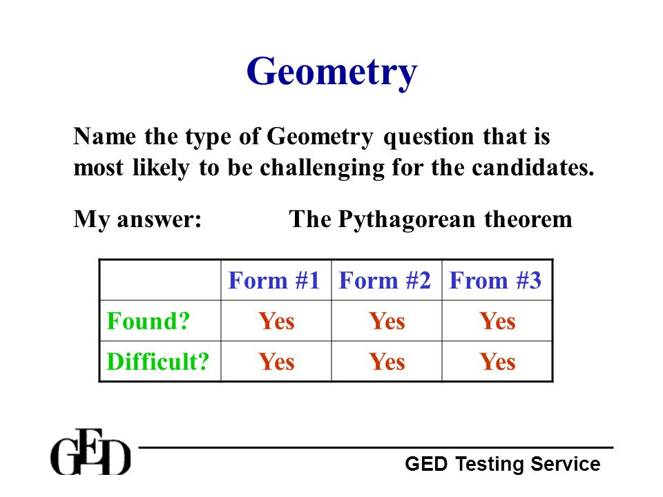 GED Testing Service Geometry Name the type of Geometry question that is most likely to be challenging for the candidates. My answer:The Pythagorean th