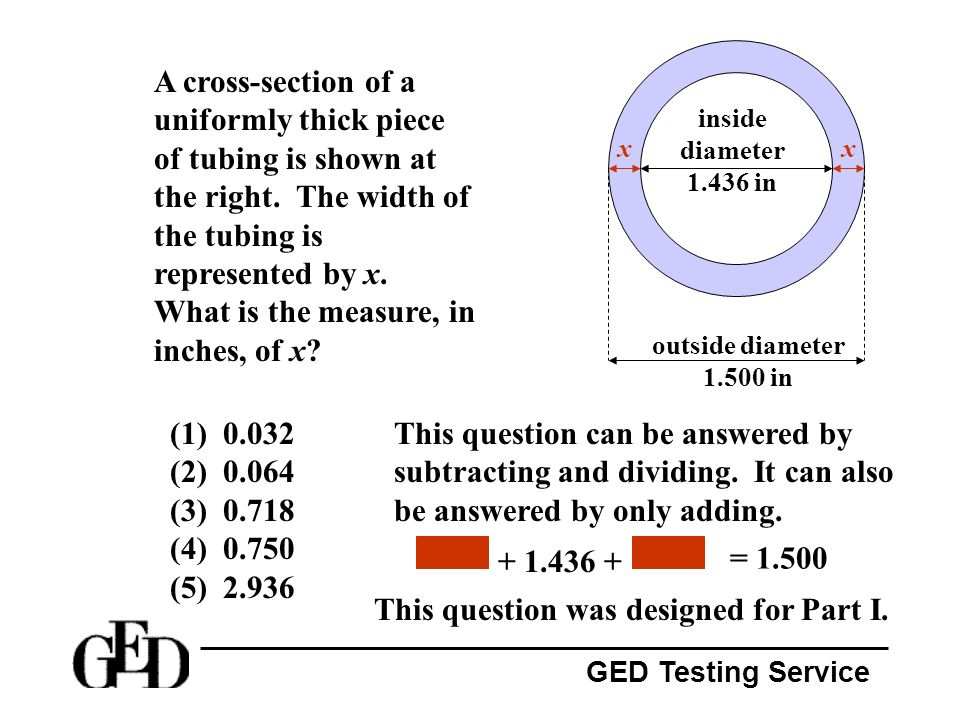 GED Testing Service A cross-section of a uniformly thick piece of tubing is shown at the right. The width of the tubing is represented by x. What is t