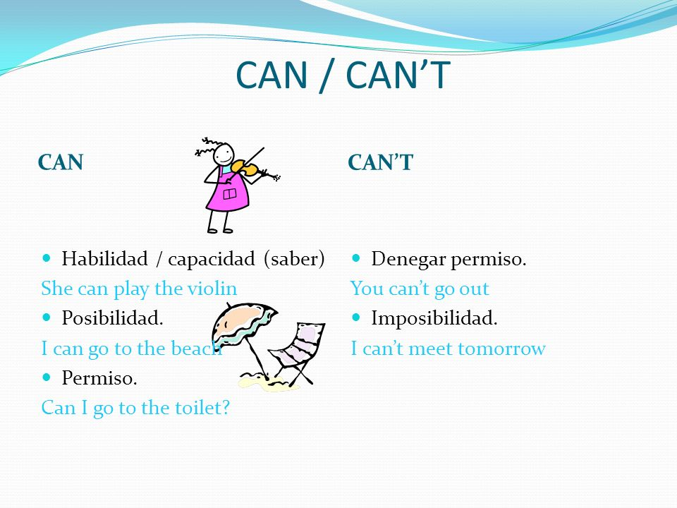 CAN / CANT CAN CANT Habilidad / capacidad (saber) She can play the violin Posibilidad. I can go to the beach Permiso. Can I go to the toilet? Denegar