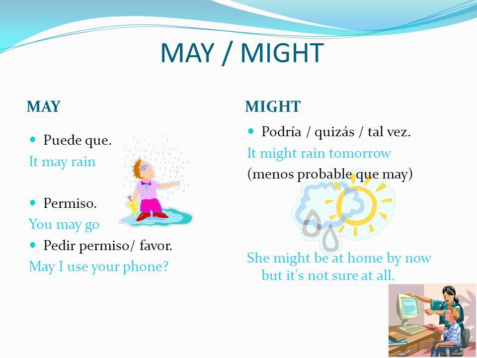 MAY / MIGHT MAYMIGHT Puede que. It may rain Permiso. You may go Pedir permiso/ favor. May I use your phone? Podría / quizás / tal vez. It might rain t