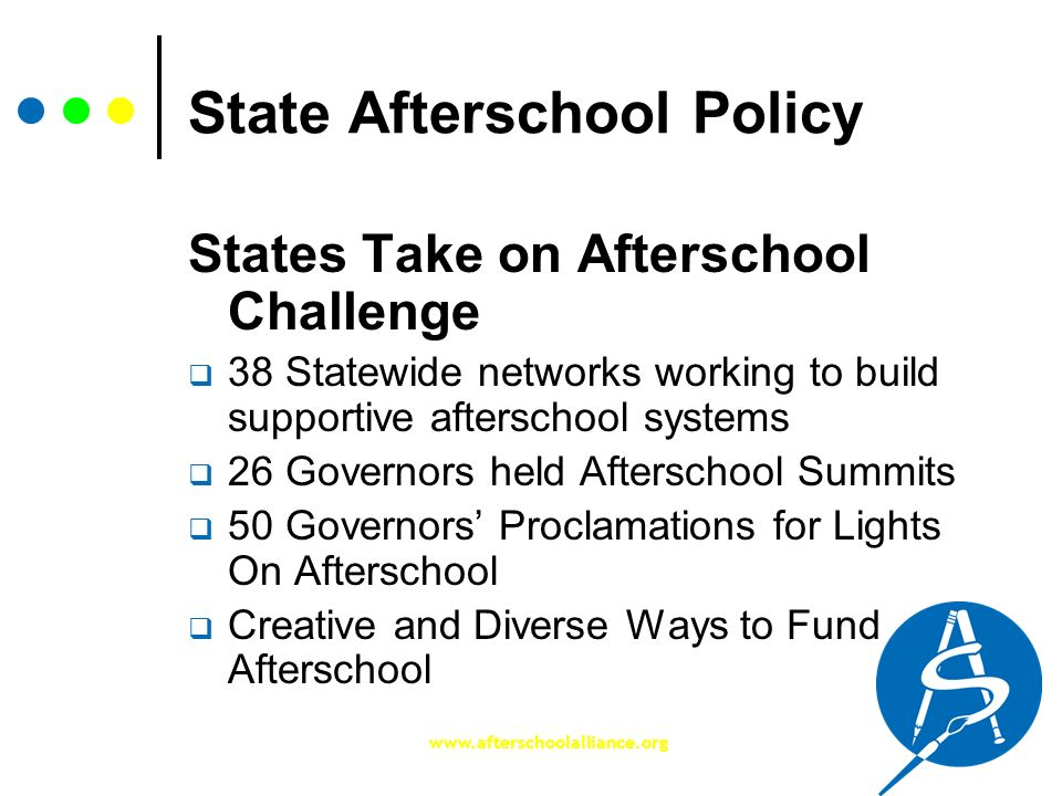www.afterschoolalliance.org State Afterschool Policy States Take on Afterschool Challenge 38 Statewide networks working to build supportive afterschoo