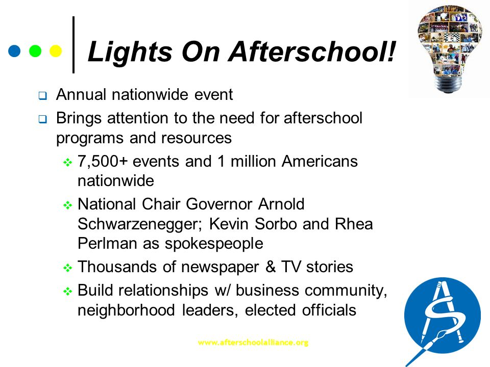 www.afterschoolalliance.org Lights On Afterschool! Annual nationwide event Brings attention to the need for afterschool programs and resources 7,500+