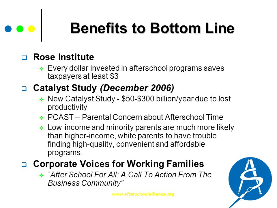 www.afterschoolalliance.org Benefits to Bottom Line Rose Institute Every dollar invested in afterschool programs saves taxpayers at least $3 Catalyst